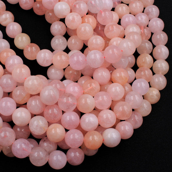 "Natural Morganite Beads Smooth 4mm 6mm 8mm 10mm Round Beads AAA High Quality Natural Pink Beryl Aquamarine Gemstone 16"" Strand"