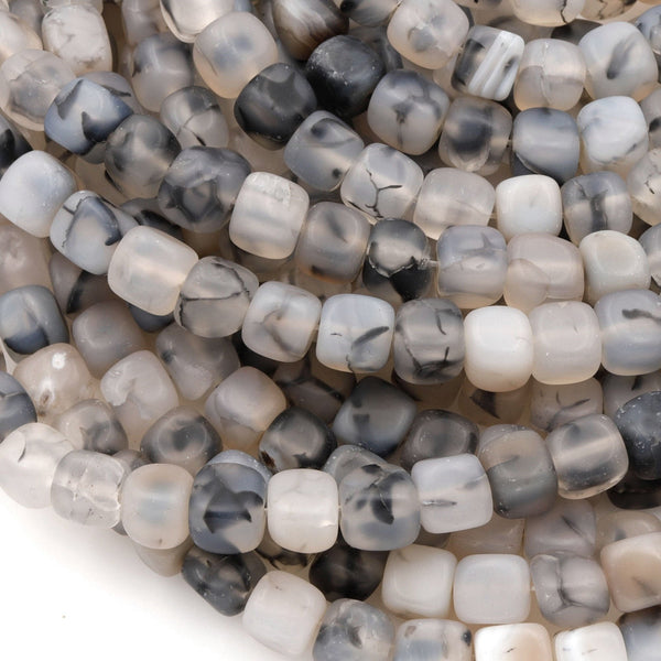 "Matte Dragon Vein Agate Square Cube Dice Beads 8mm 16"" Strand"