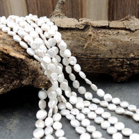 "AAA 8mm 10mm White Coin Pearl Thick Brilliant Nacre Real Genuine Natural Freshwater Pearl Full 16"" Strand"