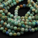 "Rare Natural Chrysocolla Azurite in Quartz 6mm 8mm 10mm 12mm 14mm From Arizona Blue Azurite Green Chrysocolla 16"" Strand"