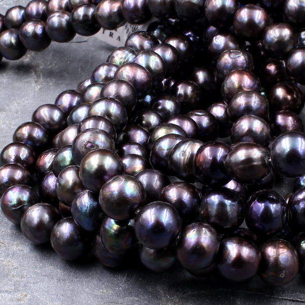"Large Black Peacock Pearl 10mm Round Pearl Shimmery Iridescent Real Genuine Freshwater Pearl 16"" Strand"