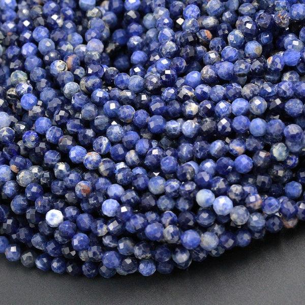 "High Quality Natural Blue Sodalite Round Beads 4mm 5mm Faceted Round Beads Micro Cut Faceted Tiny Small Genuine Gemstone 16"" Strand"