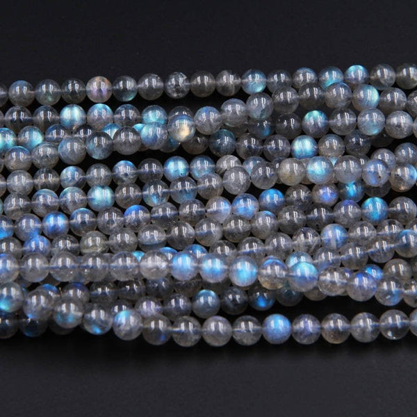 "Blue Flashes~ AAA Natural Blue Labradorite 4mm Round 6mm Round 7mm Round 8mm Round Beads 16"" Strand"