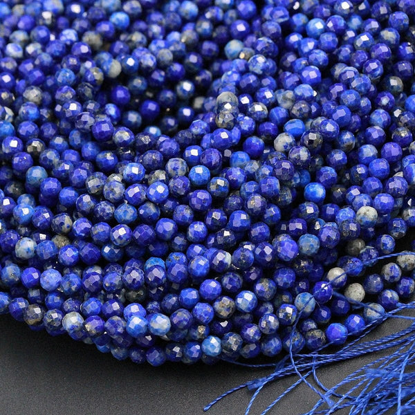 "Micro Faceted Real Genuine 100% Natural Blue Lapis Lazuli Round Beads Tiny Small 3mm Faceted Round Beads Diamond Cut Gemstone 16"" Strand"
