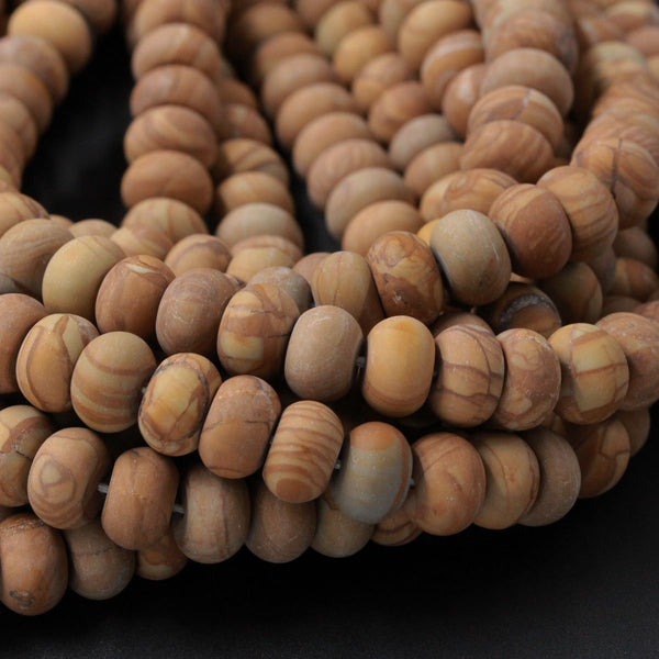 "Natural Wooden Jasper Large Matte Rondelle Bead 8mm 10mm 12mm Earthy Yellow Brown Natural Unique Wood Jasper 16"" Strand"