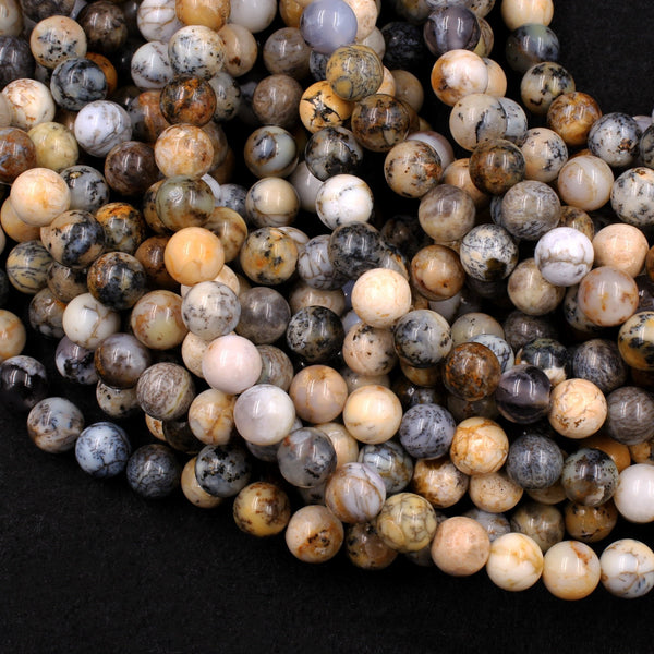 "Natural African Dendritic Opal 8mm Round Beads Neutral Beige Creamy Taupe Sand Brown Color Opal Gemstone 16"" Strand"