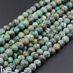 "Large Hole Beads Natural African Turquoise 8mm Matte Round Beads 10mm Matte Round Beads Big 2.5mm Hole 8"" Strand"