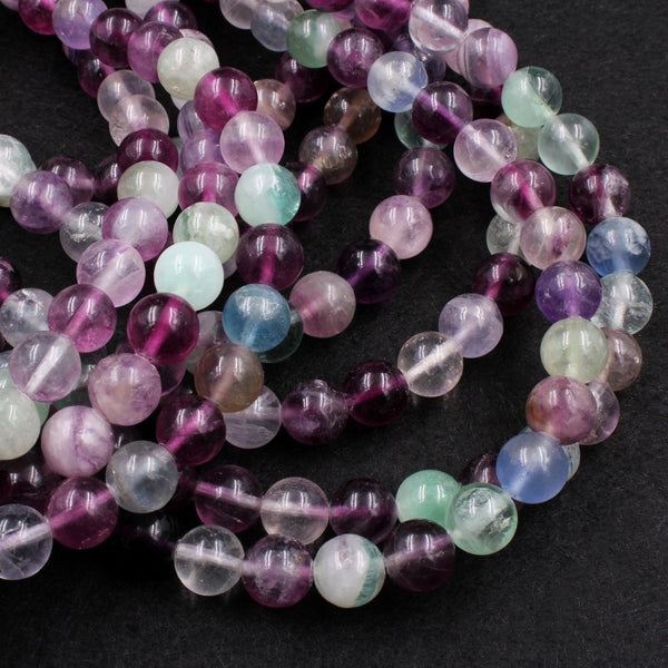 "Large Natural Rainbow Fluorite 10mm Round Beads Smooth Polished Colorful Purple Green Blue Fluorite Gemstone Beads 16"" Strand"