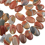 "Natural Landscape Ocean Jasper Oval Beads Aka Polychrome Ocean Jasper Top Side Drilled Pebble Earthy Red Orange Slate Brown 16"" Strand"