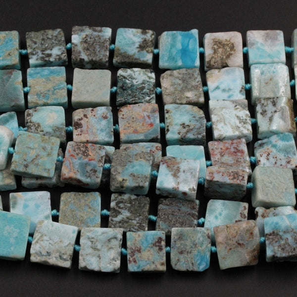 "Natural Blue Larimar Beads Large Chunky Thick Square Uniform Slice Slab Rectangle Nuggets Raw Rough Gemstone Focal Beads 16"" Strand"