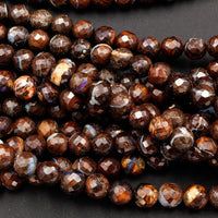 "Natural Australian Boulder Opal Beads Faceted 6mm 7mm Beautiful Opal Veins 19"" Sterling Silver Clasp Necklace Strand"