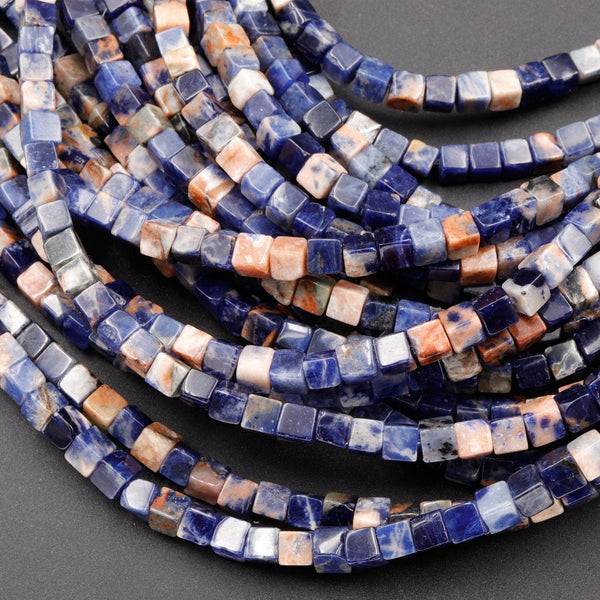 "Natural Orange Sodalite Beads 4mm Square Dice Cube 16"" Strand"