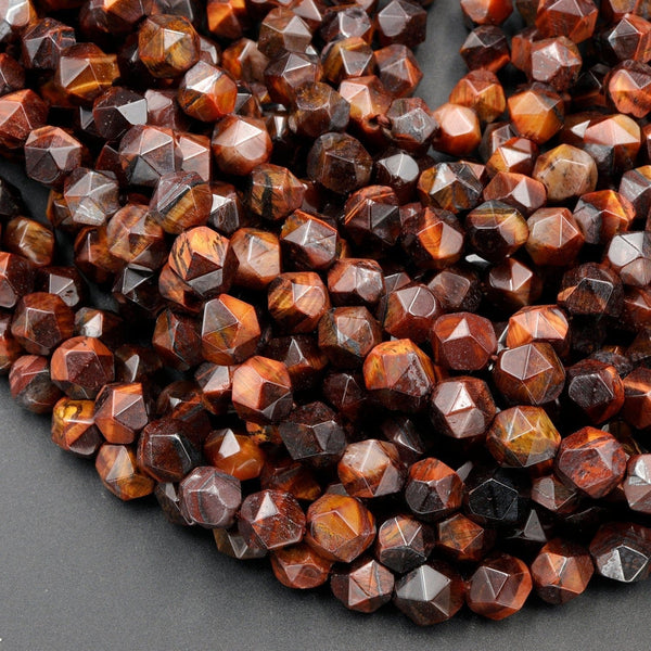 "Star Cut Natural Red Tiger Eye Beads Faceted 8mm Rounded Nugget Sharp Facets 15"" Strand"
