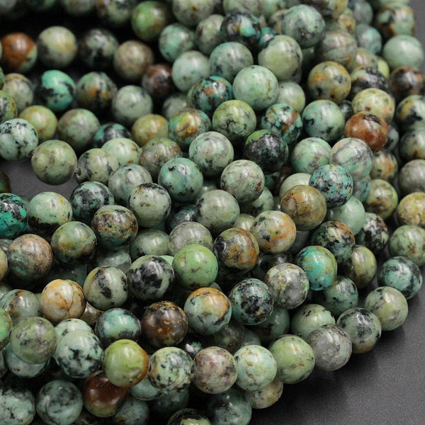 "Natural African Turquoise 8mm 10mm 12mm Round Beads High Quality Natural Turquoise Gemstone Lots of Blues Greens 16"" Strand"