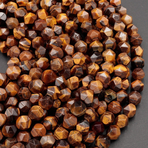"Star Cut Natural Tiger Eye Beads Faceted 6mm 8mm Rounded Nugget Sharp Facets 15"" Strand"