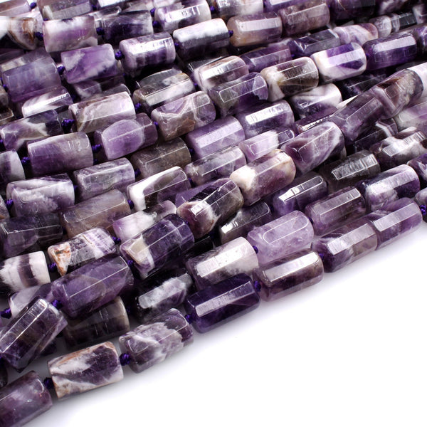 "Faceted Natural Chevron Amethyst Tube Beads Long Cylinder 16x10mm 16"" Strand"