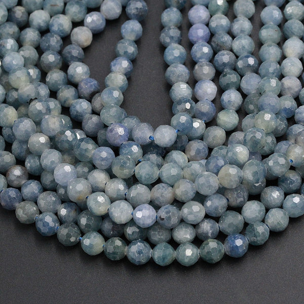 "A Grade Genuine Natural Blue Sapphire Faceted 7mm 8mm 10mm Round Beads Organic 100% Natural Gemstone 16"" Strand"