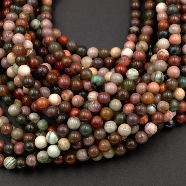 "Real Genuine Natural Mexican Imperial Jasper 4mm 6mm 8mm Round Beads Colorful Creamy Red Pink Green Mauve Multicolor Jasper 16"" Strand"