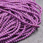 "AAA Phosphosiderite Round Beads 3mm Natural Rich Lavender Purple Phosphosiderite High Polish 16"" Strand"
