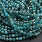 "Small Natural Apatite Beads Faceted Round Beads 5mm Micro Faceted Cut Round Beads Translucent Aqua Teal Blue Green Gemstone 16"" Strand"