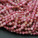 "Natural Pink Tourmaline Faceted 5mm Beads Round Micro Faceted Micro Cut Small Real Gemstone Diamond Cut 16"" Strand"