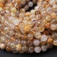 "Natural Golden Dendritic Quartz 6mm 8mm 10mm Round Beads Exotic Golden Crystal From Brazil W Black Dendritic Pattern Rare Quartz 16"" Strand"