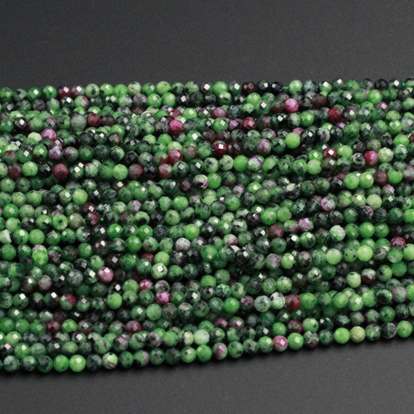 "Faceted Natural Ruby Zoisite 4mm Round Beads Micro Faceted Cut Small Red Ruby Green Zoisite Gemstone 16"" Strand"