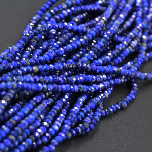 "Micro Faceted Natural Blue Lapis Lazuli Rondelle Beads Tiny Small 2mm 3mm 4mm Faceted Beads Diamond Cut Gemstone 16"" Strand"