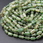"Natural Green Garnet Barrel Beads Cylinder Beads Nuggets Smooth Drum Beads Tube Nugget 8mm x 12mm Real Genuine Green Gemstone 16"" Strand"