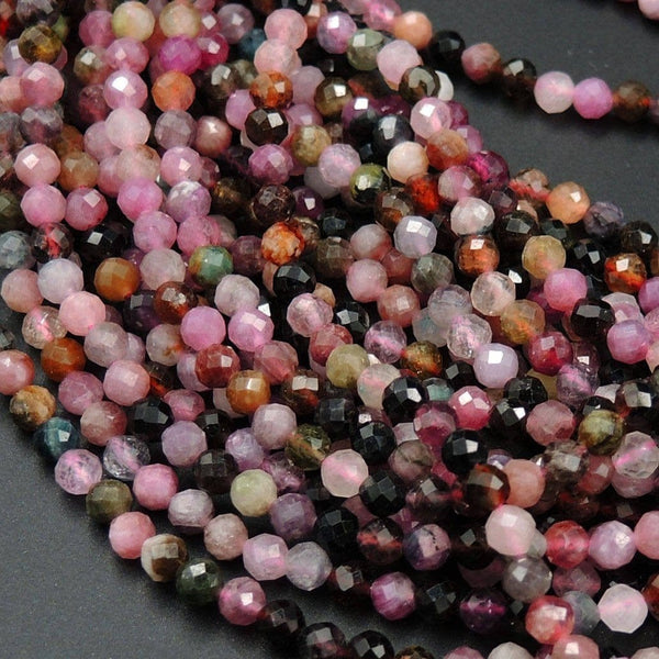 "Micro Faceted Tiny Natural Multicolor Tourmaline Round Beads 3mm Faceted Round Beads 16"" Strand"