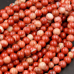 "Large Hole Beads Natural Red Jasper 8mm Round Beads 10mm Round Beads Big 2.5mm Hole 8"" Strand"