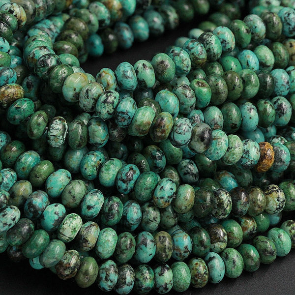 "Extra Blue Green Color Natural African Turquoise 8mm Rondelle Smooth Beads High Quality Real Natural African Turquoise Gemstone 16"" Strand"