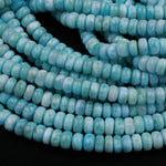 "Real Genuine Blue Larimar Rondelle Beads AAA Grade 7mm 8mm 9mm Smooth Thick Saucer Wheel Real Genuine Natural Larimar Gemstone 16"" Strand"