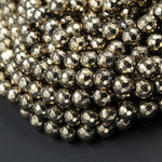 "Large Hole Beads Titanium Pyrite Faceted 6mm Round beads Big 2mm Drilled Hole Sparkling Gemstone 16"" Strand"