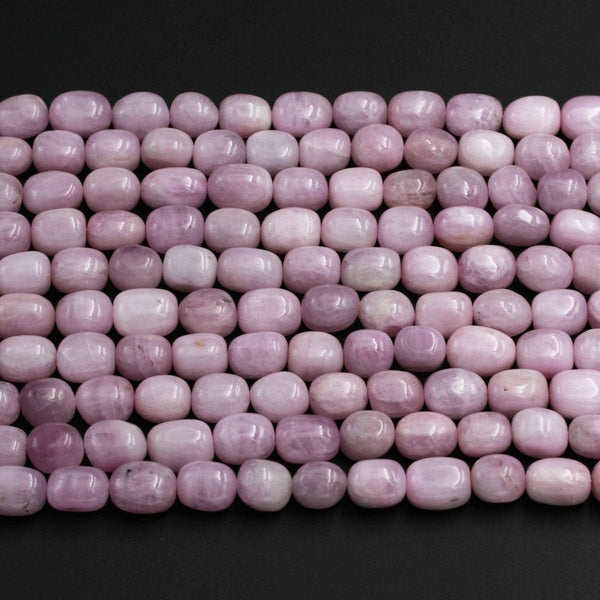 "Natural Kunzite Beads Polished Smooth Long Rectangle Barrel Drum Nuggets Soft Pastel Purple Pink Violet Purple Gemstone Beads 16"" Strand"