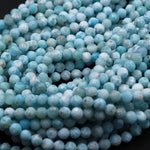 "Natural Larimar Beads Micro Faceted Small 5mm Faceted 6mm Faceted Round Beads Genuine Natural Blue Larimar Gemstone AA Grade 16"" Strand"