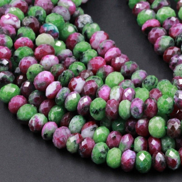 "Faceted Natural Ruby Zoisite Rondelle Bead 6mm 8mm 10mm Laser Diamond Cut Faceted Real Genuine Red Ruby in Green Zoisite Gemstone 16"" Strand"