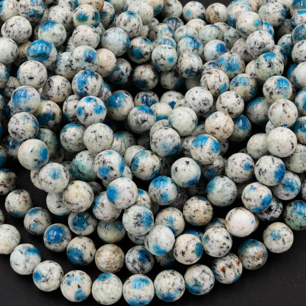 "AA Rare K2 Beads 6mm 8mm 10mm Round Beads Natural Blue Azurite in Quartz Granite Real Genuine K2 Beads from Pakistan Afghanistan 16"" Strand"