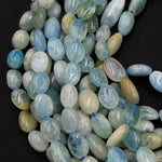 "Natural Aquamarine Beads Freeform Irregular Smooth Oval Rice Nugget Real Genuine Blue Green Gemstone 16"" Strand"