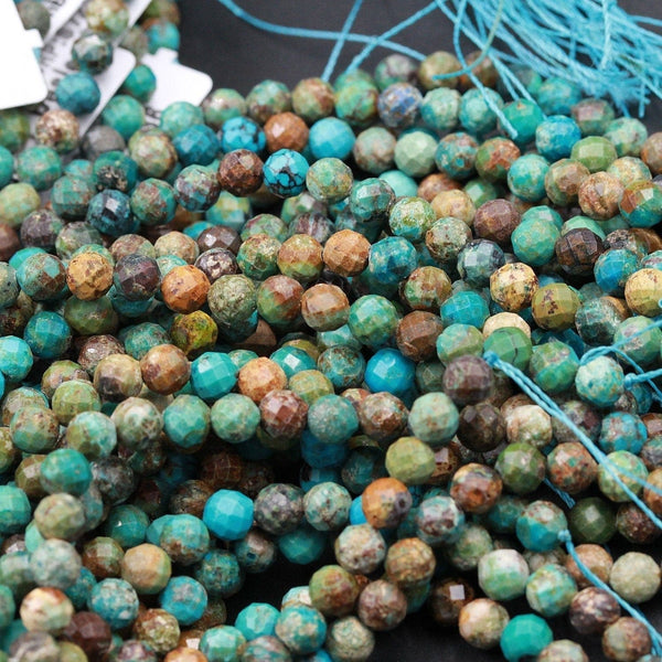 "Natural Turquoise 5mm Faceted Round Beads Real Genuine Natural Blue Green Brown Turquoise Micro Faceted Laser Diamond Cut 16"" Strand"