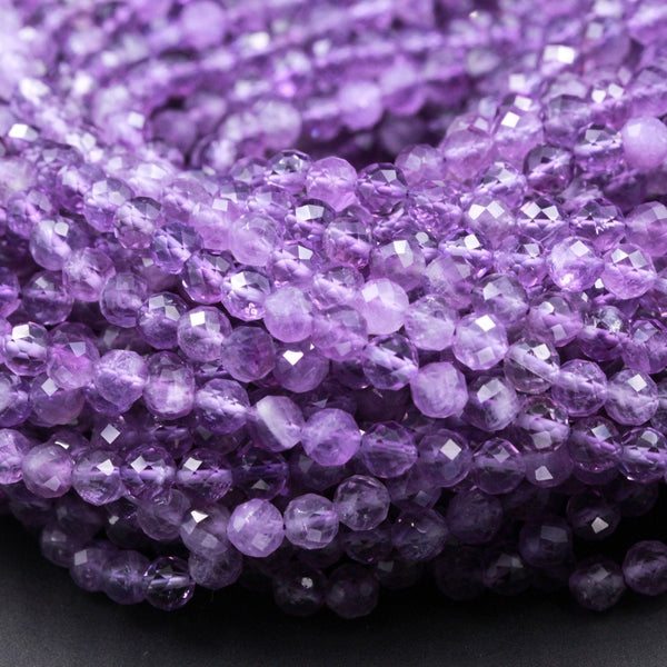 "Gorgeous Faceted Natural Amethyst Round Beads 5mm Miro Faceted Genuine Natural Purple Amethyst Gemstone Beads High Quality 16"" Strand"