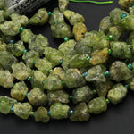 "Raw Rough Natural Green Garnet Nugget Freeform Chunky Chip Real Genuine Green Garnet Gemstone Beads Organic Hand Hammered Nugget 16"" Strand"