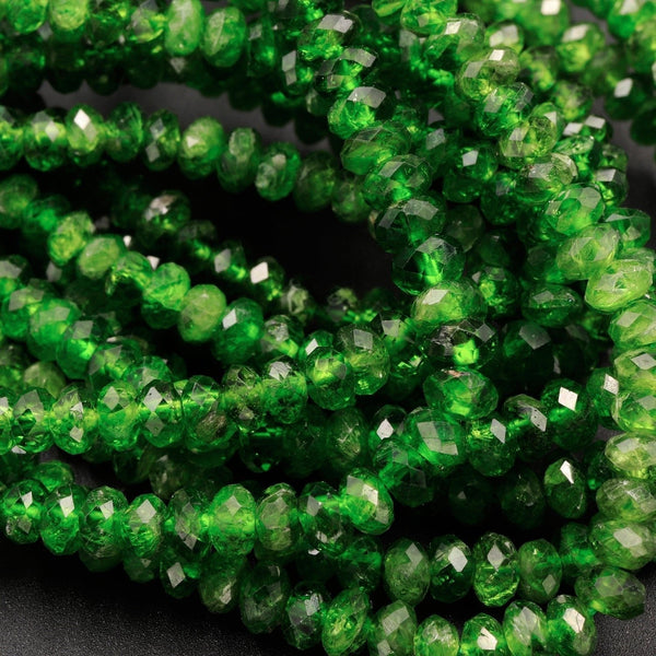 "Natural Green Chrome Diopside Beads Faceted 4mm Rondelle Real Genuine Chrome Diopside Gemstone 16"" Strand"