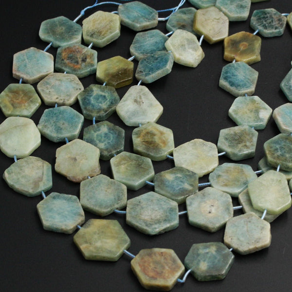 "Large Natural Raw Aquamarine Hexagon Slice Beads Nuggets Freeform Star Cut Blue Green Gemstone Earthy Beads Organic Cut Beads 16"" Strand"