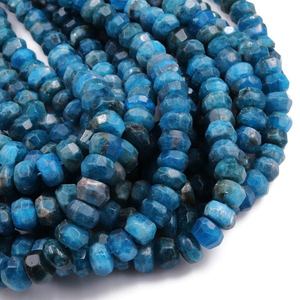 "Natural Blue Apatite Faceted Rondelle 10mm Thick Faceted Wheel Center Drilled Disc Intense Teal Blue Gemstone Beads 16"" Strand"