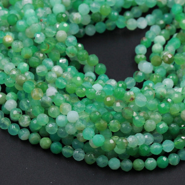 "Micro Faceted Natural Australian Green Chrysoprase Faceted Round 4mm Beads Diamond Cut Gemstone Beads 16"" Strand"