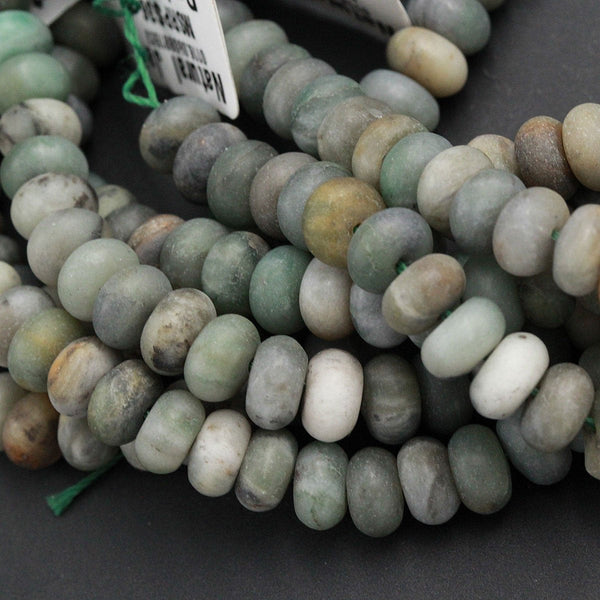 "Matte African Green Jade 8mm 10mm 12mm Rondelle Beads Fine Quality Natural Green Jade Matte Finish Organic Earthy Green Gemstone 16"" Strand"