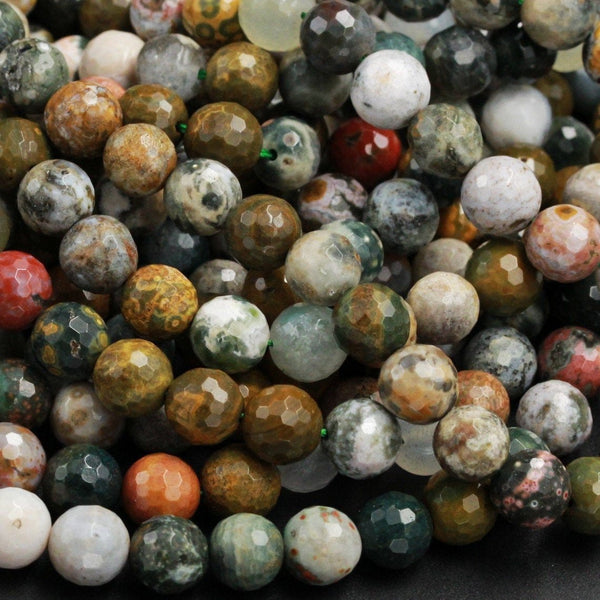 "Natural Ocean Jasper Beads Faceted 8mm Round Beads Vibrant Green Yellow Red Brown High Quality Ocean Jasper Gemstone 16"" Strand"