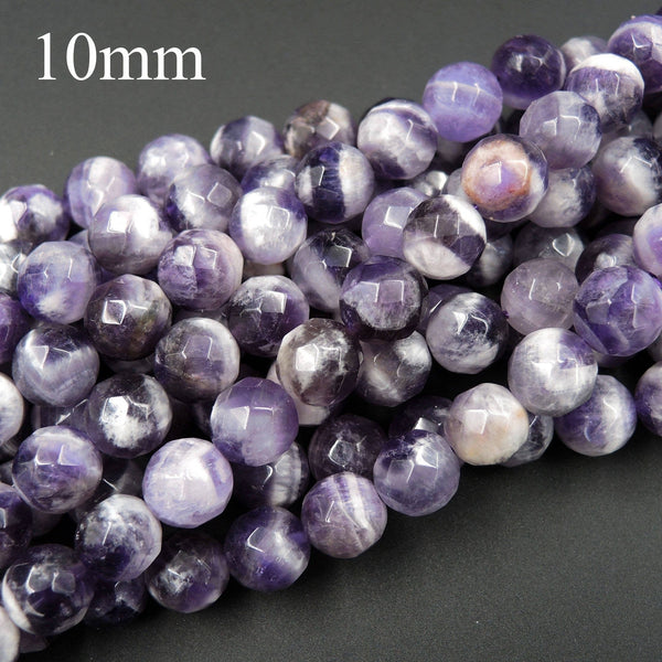 "Natural Chevron Amethyst 6mm 8mm 10mm 12mm Faceted Round Beads Striking Eye Catching White Stripes Real Genuine Purple Amethyst 16"" Strand"