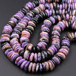 "Chunky Natural Charorite Rounded Disc Beads Purple Russian 12mm 14mm Large FreeForm Center Drilled Thin Rondelle beads 16"" Strand B560"